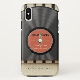 Capa Para iPhone X Registro retro de LP do vinil da rocha