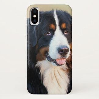 Capa Para iPhone X Retrato do cão de montanha de Bernese
