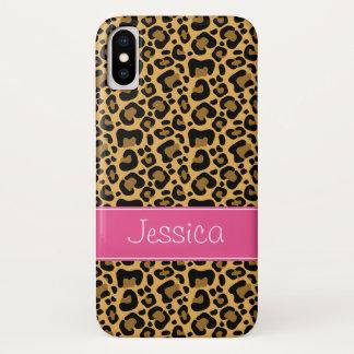 Capa Para iPhone X Rosa do teste padrão do impressão do leopardo