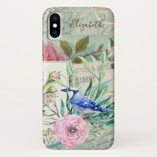 Capa Para iPhone X Rosa elegante do vintage do pássaro de Jay azul