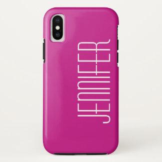 Capa Para iPhone X Rosa quente, nome feito sob encomenda