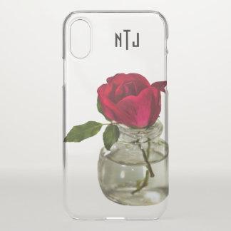 Capa Para iPhone X Rosa vermelha na fotografia floral da garrafa -