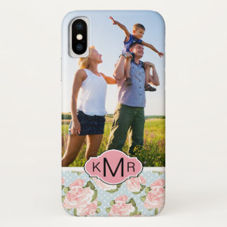 Capa Para iPhone X Rosas feitos sob encomenda da foto & do monograma