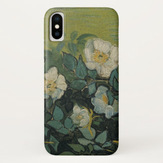 Capa Para iPhone X Rosas selvagens de Van Gogh, belas artes do jardim