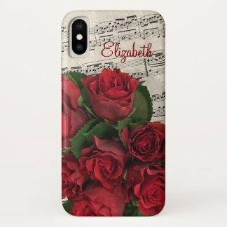 Capa Para iPhone X Rosas vermelhas e nome da melodia do amor