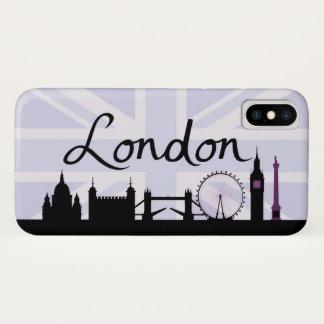 Capa Para iPhone X Roteiro de Londres no céu de Union Jack & locais