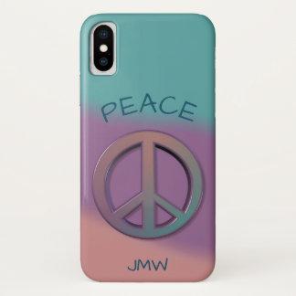 Capa Para iPhone X Roxo e coral de turquesa do sinal de paz