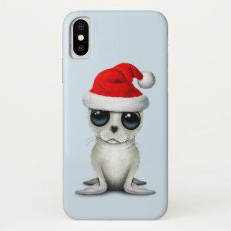 Capa Para iPhone X Selo ártico do bebê que veste um chapéu do papai