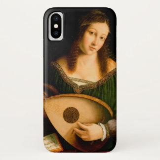 Capa Para iPhone X Senhora Playing Lute Retrato Arte de Bartolomeo