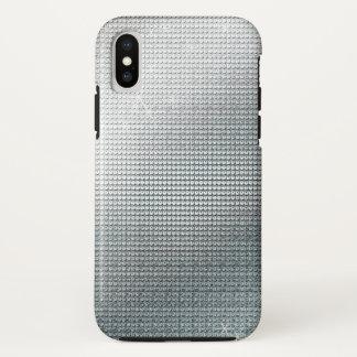 Capa Para iPhone X Sequin de prata metálico Sparkling