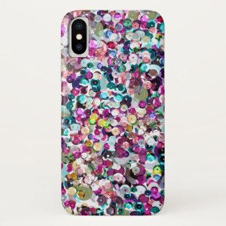 Capa Para iPhone X Sequins femininos Bling do falso do arco-íris