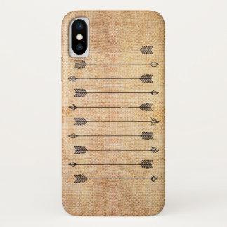 Capa Para iPhone X Setas de linho rústicas do hipster