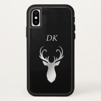 Capa Para iPhone X Silhueta de prata dos cervos do Antler do