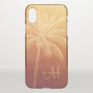 Capa Para iPhone X silhueta tropical da palmeira do por do sol