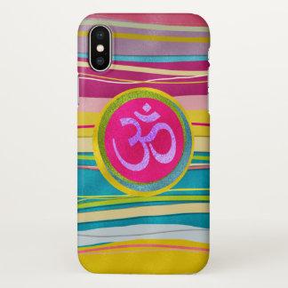 Capa Para iPhone X Símbolo de OM do brilho de Colorfull no teste