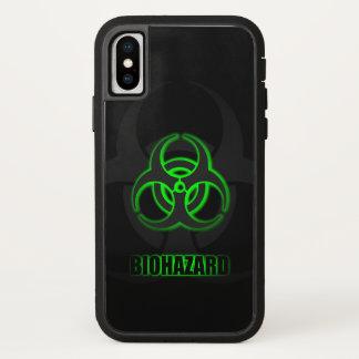Capa Para iPhone X Símbolo verde de incandescência do Biohazard