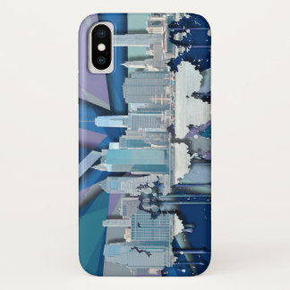 Capa Para iPhone X Skyline   3D azul da Nova Iorque