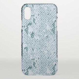 Capa Para iPhone X Snakeskin azul e branco fabuloso