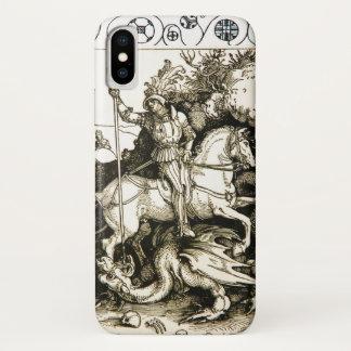 Capa Para iPhone X ST GEORGE E DRAGÃO, branco preto