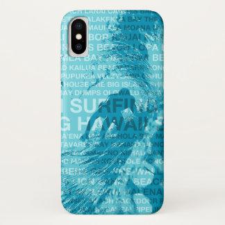 Capa Para iPhone X Surfista havaiano surfando da sala verde de Havaí