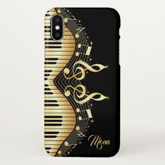 Capa Para iPhone X Teclado do Musical do ouro