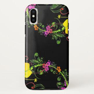 Capa Para iPhone X Telefone floral do preto da flor - caso resistente