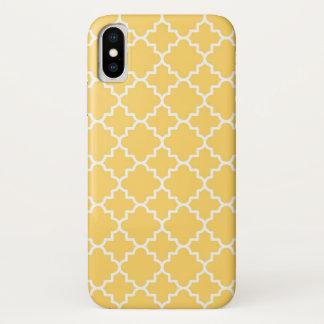 Capa Para iPhone X Teste padrão amarelo de Quatrefoil