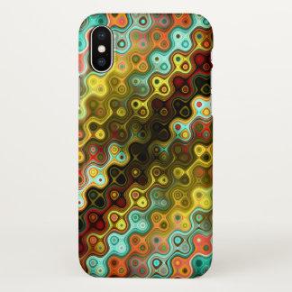 Capa Para iPhone X Teste padrão arredondado colorido das listras