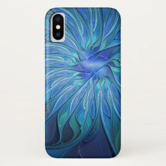 Capa Para iPhone X Teste padrão azul da fantasia da flor, arte