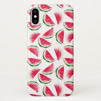 Capa Para iPhone X Teste padrão bonito do abacaxi & da melancia