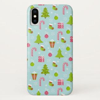 Capa Para iPhone X Teste padrão bonito do feriado do Natal