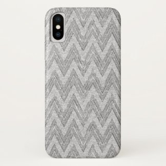 Capa Para iPhone X Teste padrão branco de Chevron do brilho do falso