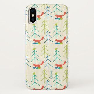 Capa Para iPhone X Teste padrão brilhante do Fox das cores da menina