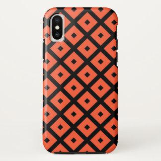 Capa Para iPhone X Teste padrão Checkered geométrico alaranjado e