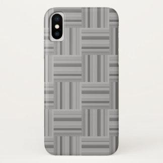 Capa Para iPhone X Teste padrão cinzento do weave das listras