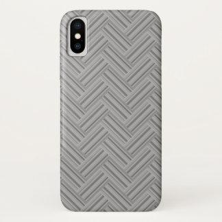 Capa Para iPhone X Teste padrão cinzento do weave do dobro das