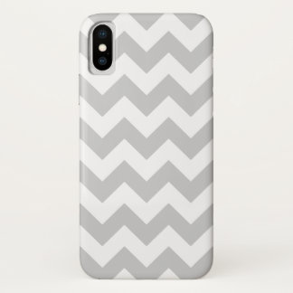 Capa Para iPhone X Teste padrão cinzento e branco de Chevron do