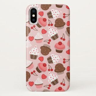 Capa Para iPhone X Teste padrão cor-de-rosa bonito dos cupcakes, dos
