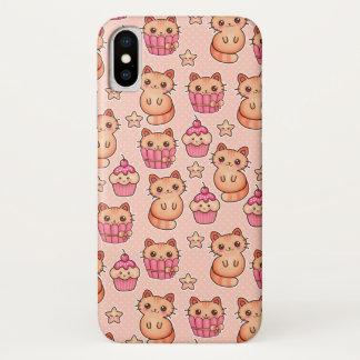 Capa Para iPhone X Teste padrão cor-de-rosa bonito dos gatos e dos