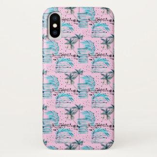 Capa Para iPhone X Teste padrão cor-de-rosa da palmeira