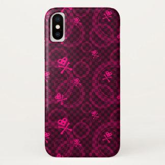 Capa Para iPhone X Teste padrão cor-de-rosa de Emo com círculos