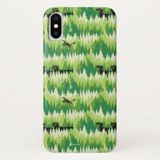 Capa Para iPhone X Teste padrão da floresta de Dino