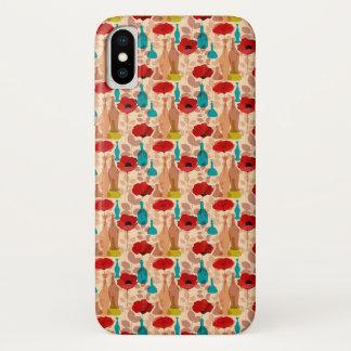 Capa Para iPhone X Teste padrão das flores, dos vasos e das garrafas