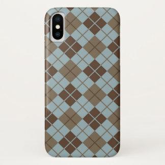 Capa Para iPhone X Teste padrão de Argyle no azul e no Taupe