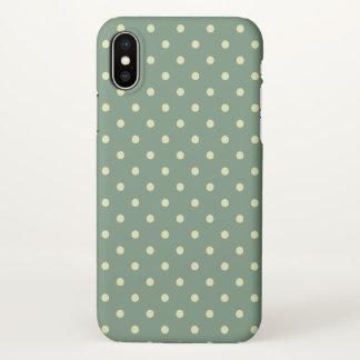 Capa Para iPhone X Teste padrão de bolinhas creme verde/claro do país