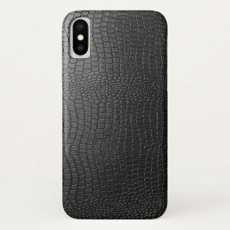 Capa Para iPhone X Teste padrão de couro de Snakeskin do falso preto