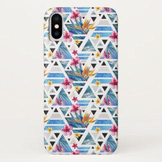 Capa Para iPhone X Teste padrão de flor tropical geométrico abstrato