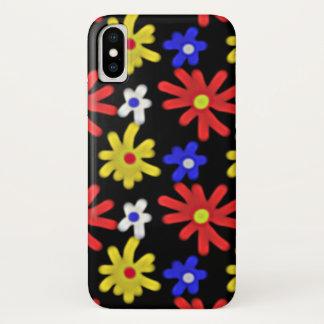 Capa Para iPhone X Teste padrão de flores colorido retro Groovy