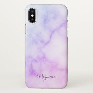 Capa Para iPhone X Teste padrão de mármore do arco-íris com nome