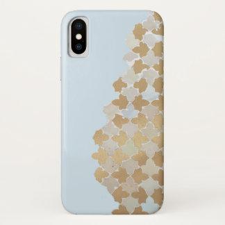 Capa Para iPhone X Teste padrão de mosaico azul do Pastel & do ouro